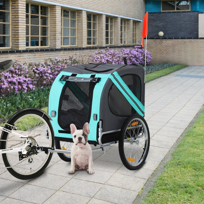 PawHut® Fahrradanhänger Haustier Hundeanhänger Wetterschutz Grün Oxfordstoff Atmungsaktiv 130 x 73 x 94 cm