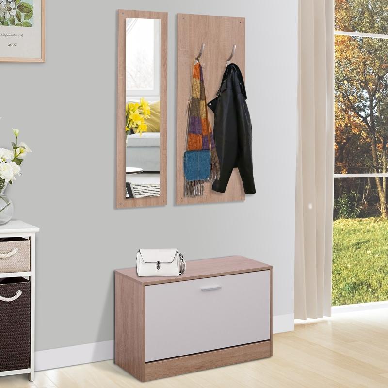 HOMCOM® 3-teiliges Garderoben-Set Flurgaderobe mit Schuhschrank Garderobe Wandspiegel 4 Haken Natur 30 x 100 cm