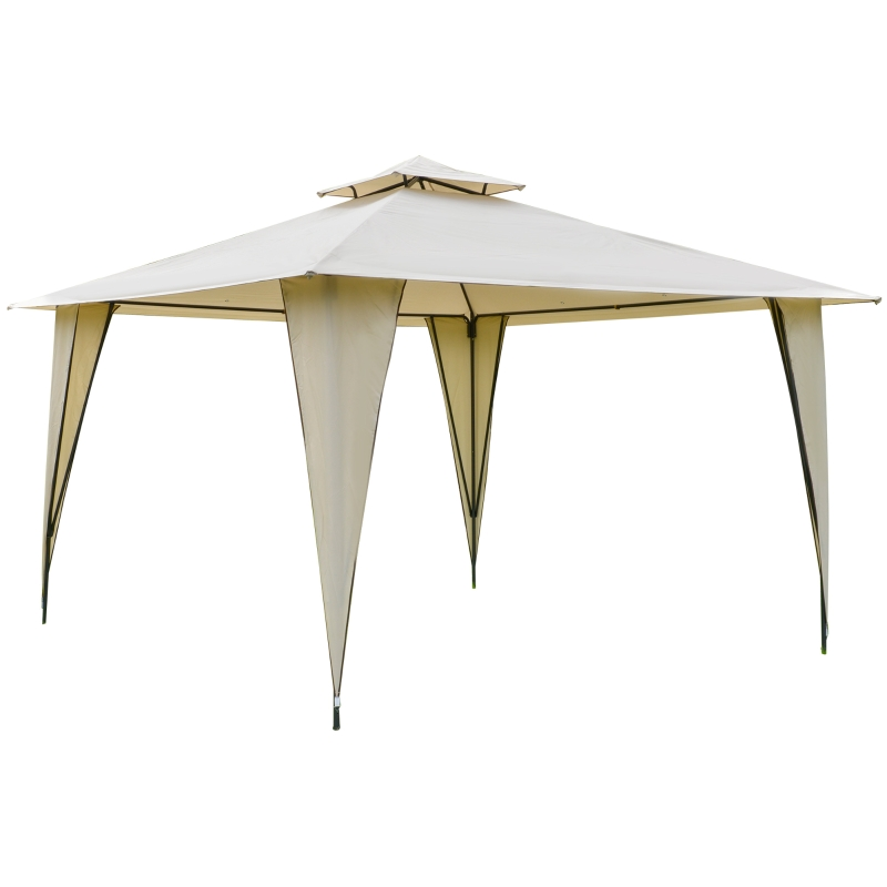 Outsunny® Pavillon Partyzelt mit Doppeldach 3,5x3,5x2,7m Festzelt Stahl Polyester Beige