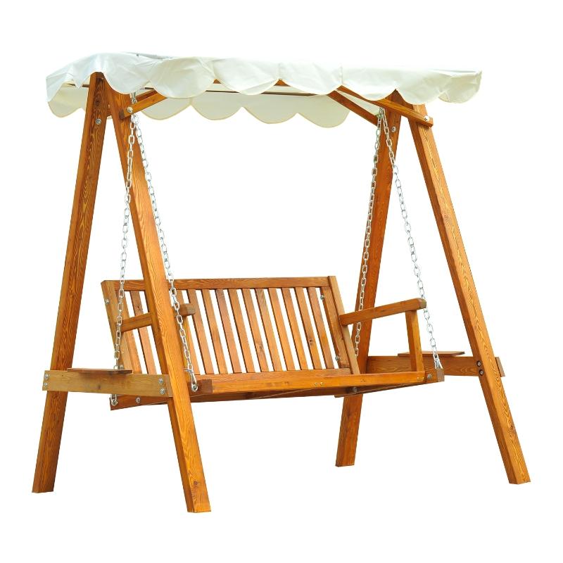 Outsunny® Gartenschaukel aus Holz Hollywoodschaukel 2-Sitzer mit Sonnenschutz weiß