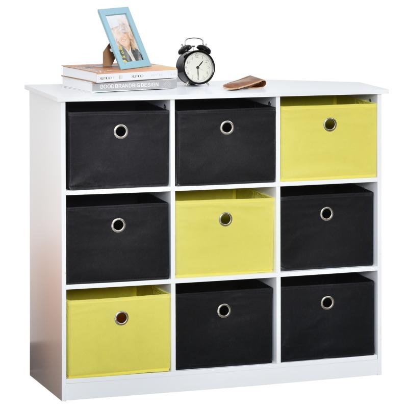 HOMCOM® Bücherregal Standregal Büroregal Würfelregal mit Stoffschubladen MDF Weiß