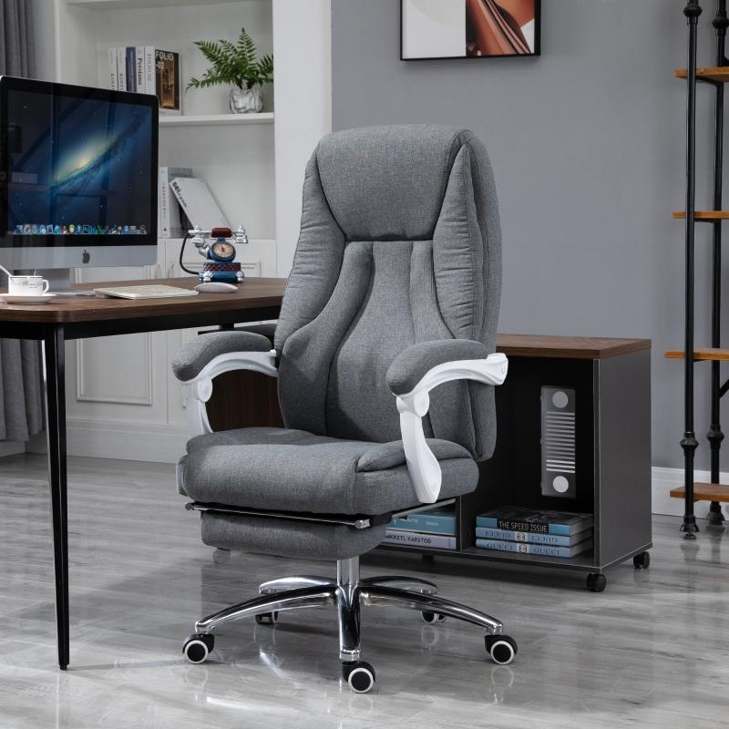 Vinsetto® Massage Sessel Bürostuhl mit Massagefunktion höhenverstellbarer Chefsessel  Grau