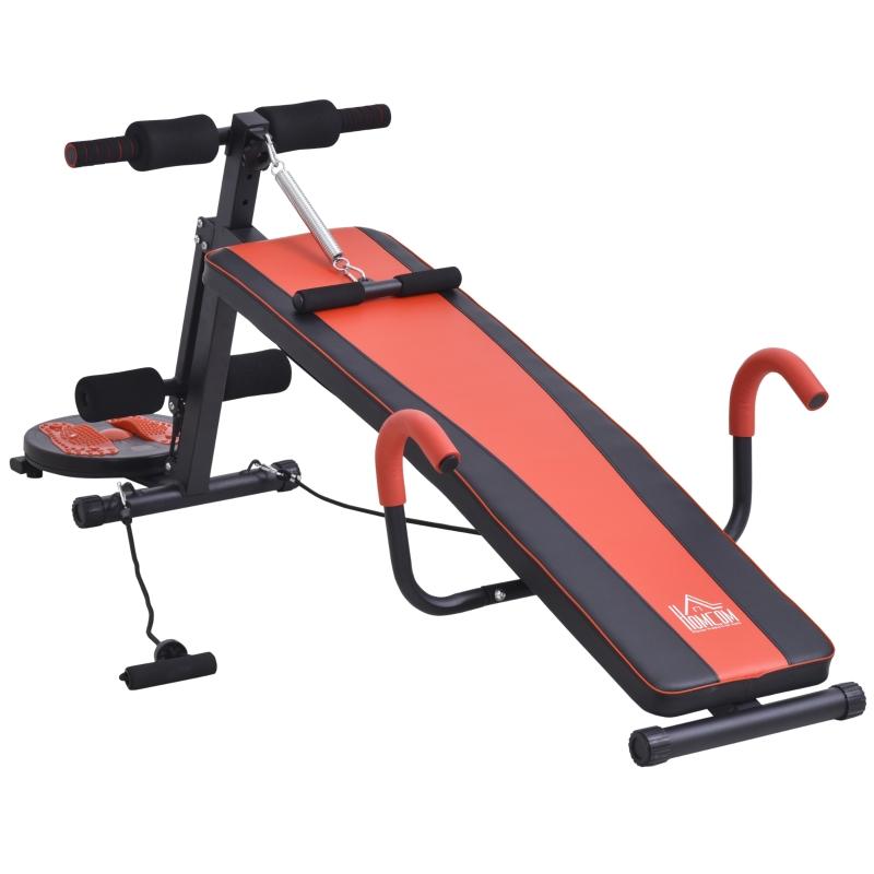 HOMCOM® Sit Up Bank Bauchtrainer Trainingsbank Fitnessbank Verstellbar Rot+Schwarz