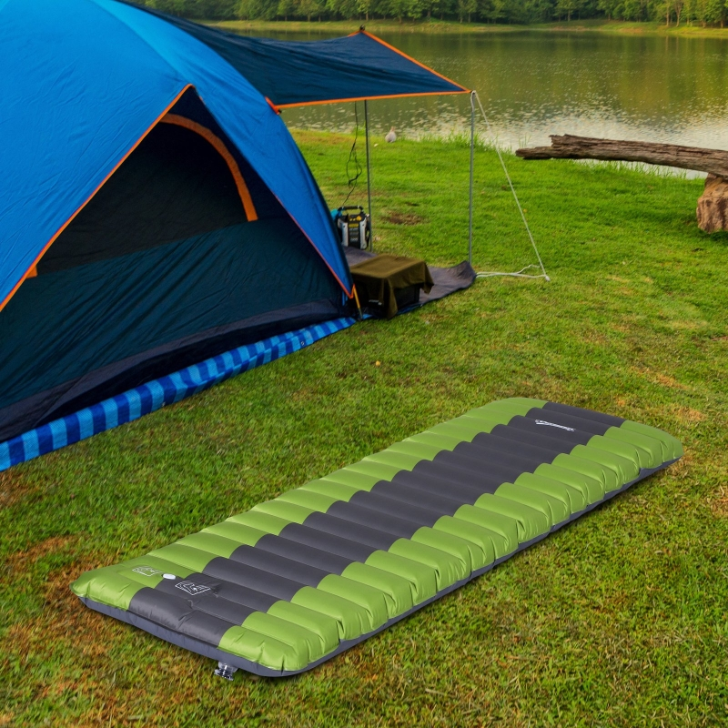 Outsunny® Luftmatraze Luftbett Camping Selbstaufblasbare Matraze Schlafmatte Pongee Grün