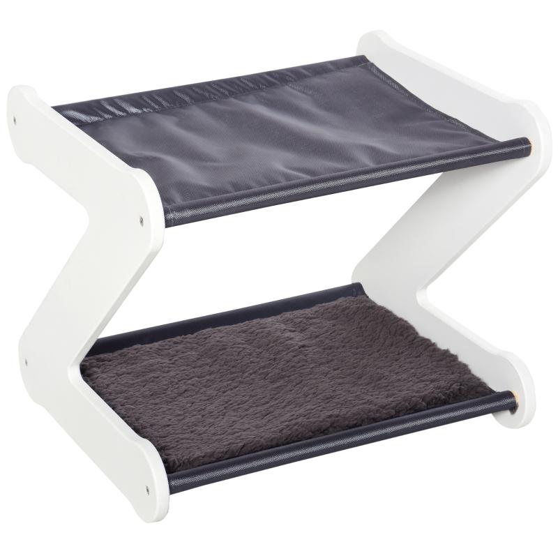 PawHut® Katzenbett zweistöckiges Katzenhaus in Z-Form Polyester E1-MDF Grau