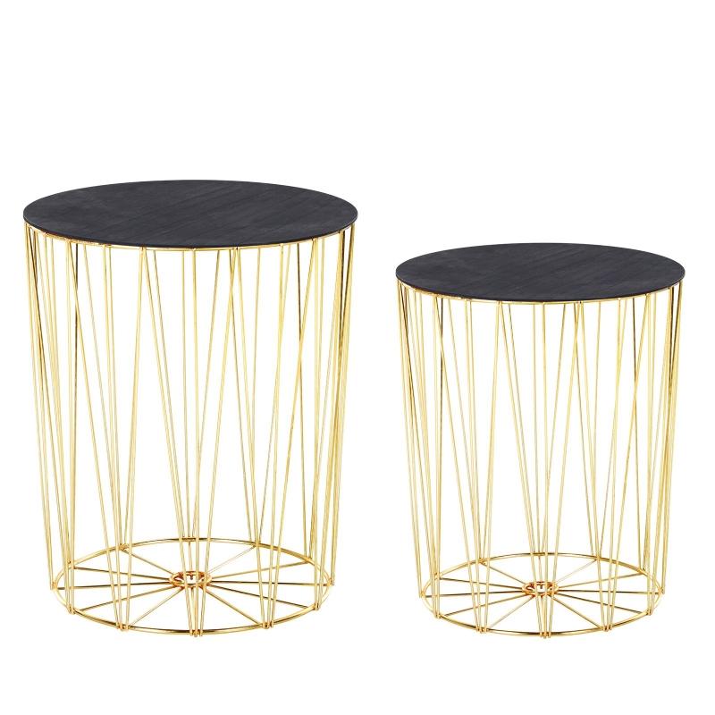 HOMCOM® Beistelltisch 2er Set Nachttisch Stauraum Metall Korb mit Holzdeckel Gold