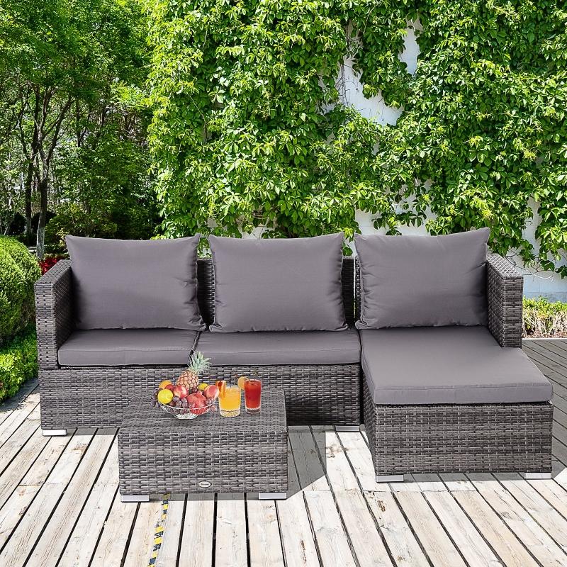 Outsunny® Dreiteiliges Gartenmöbel Sitzgruppe Kaffeetisch Stauraum 5-Stufig Rückenlehne PE