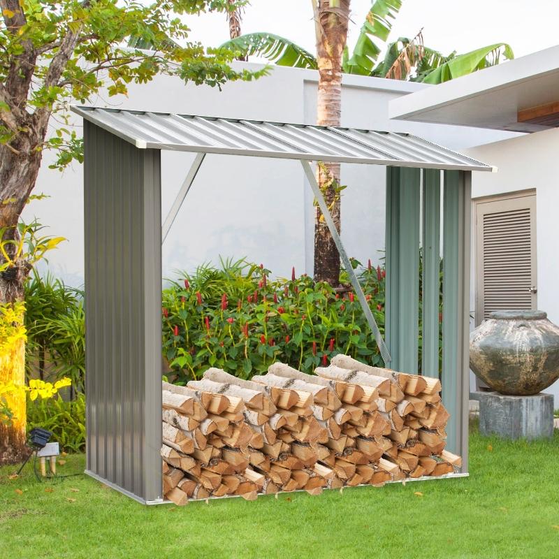 Outsunny®  Kaminholzregal Außen Holzunterstand Kaminholz Stapelhilfe 1,13 m³ Stahl Grau