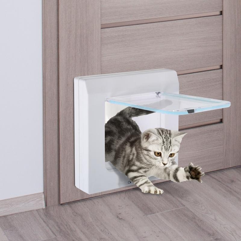 PawHut® Katzenklappe Hundeklappe Katzentür 4 Wege Weiß