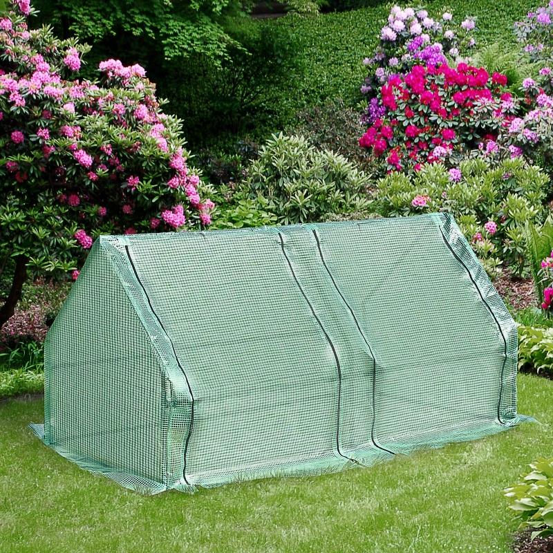 Outsunny® Mini-Gewächshaus Treibhaus Pflanzenaufzucht UV-Schutz 2 Türen Stahl+PE Grün