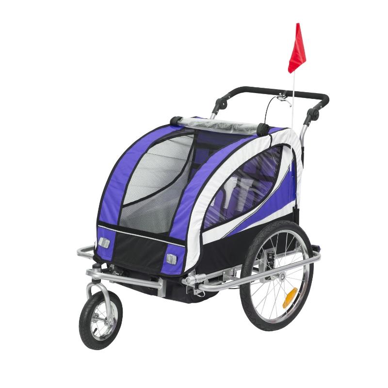HOMCOM® Kinderanhänger 2 in 1 Fahrradanhänger Anhänger Jogger 360° Drehbar für 2 Kinder