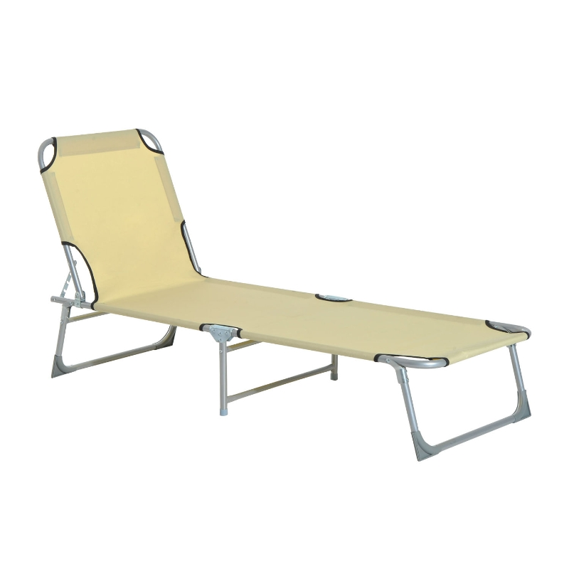 Outsunny Portable Adjustable Lounger,Oxford Cloth-Beige