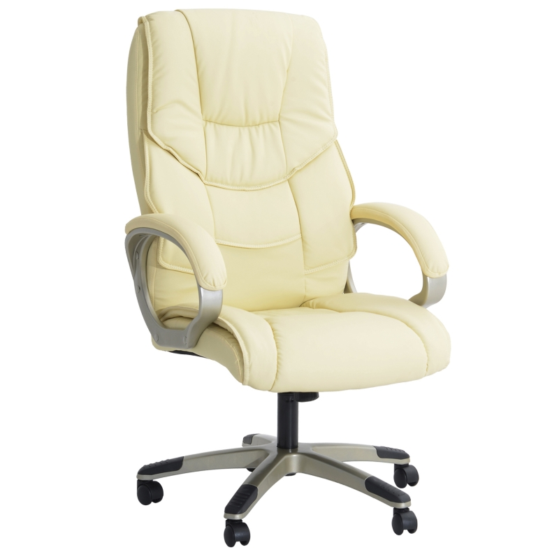 HOMCOM High Backed PU Leather Office Chair-Cream W/ Gold effect