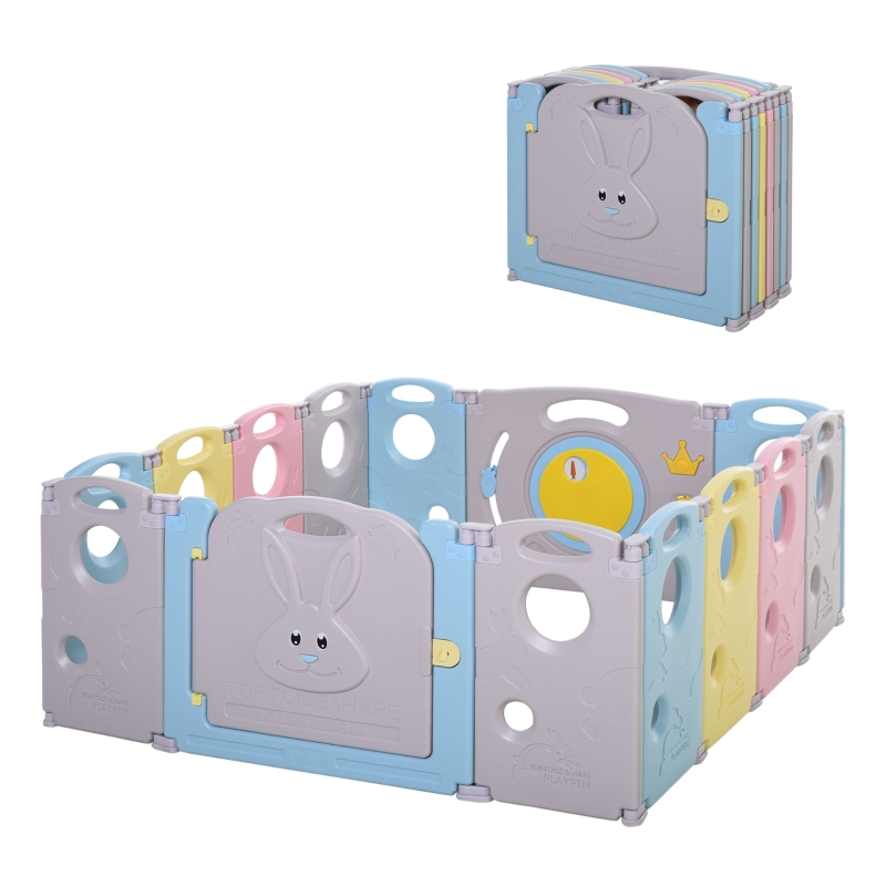 HOMCOM Babies 14-Panel HDPE Playpen Grey