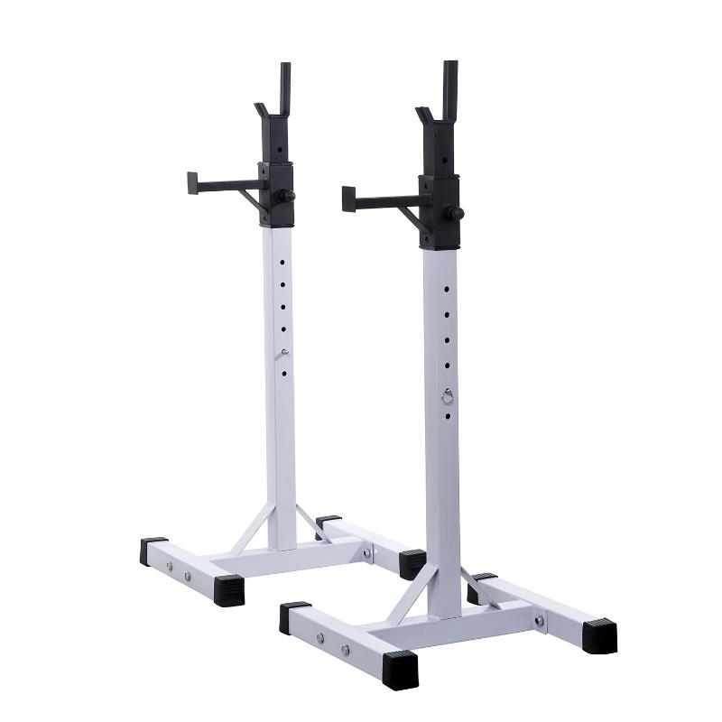 HOMCOM Adjustable Weights Barbell Squat Stand Rack-White/Black