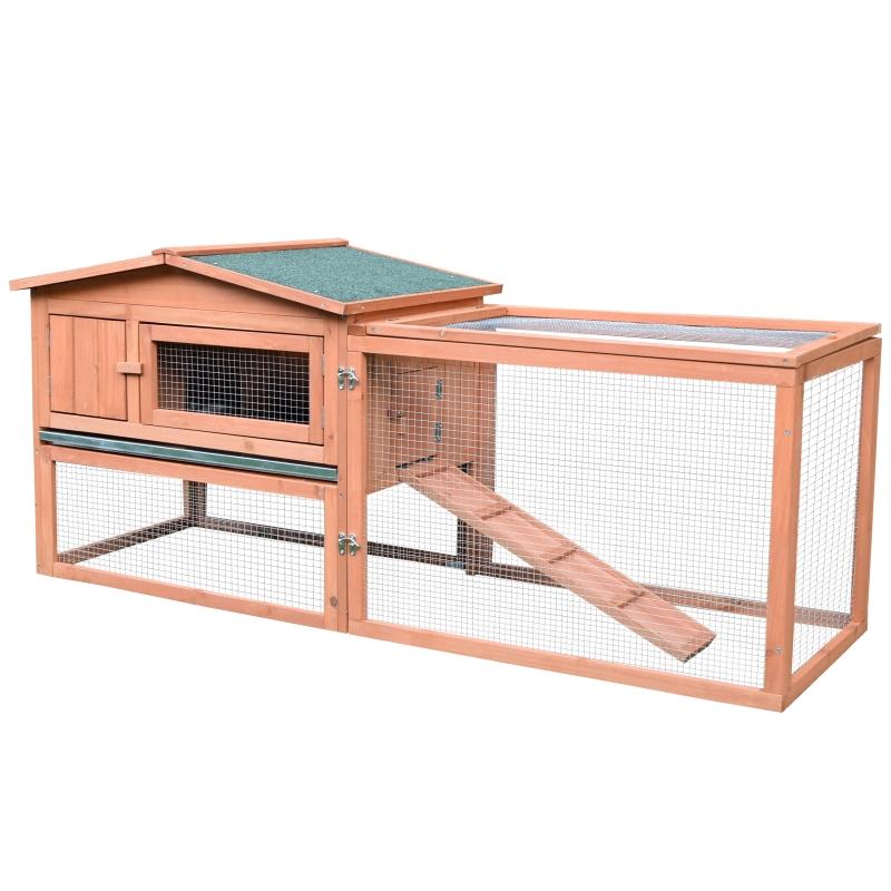 Pawhut 2-Floor Wooden Rabbit/Chicken Coop, 79Lx58Wx68H cm