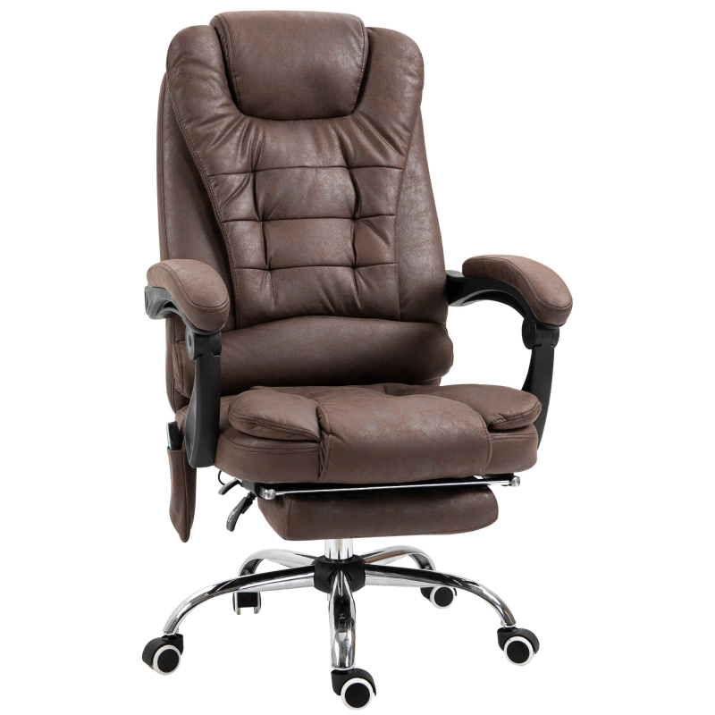 Vinsetto Distressed Leather-Look 6-Point Massage Office Chair Brown