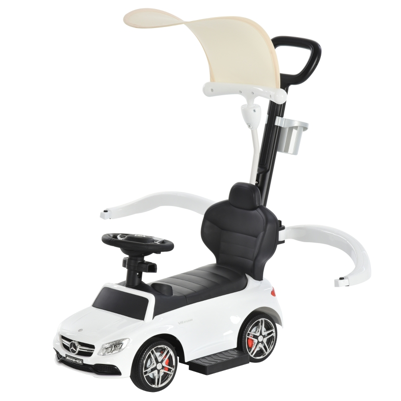 HOMCOM 3 in 1 Ride on Push Car for Toddlers Stroller Sliding Car w/ Canopy 1-3 Years Old