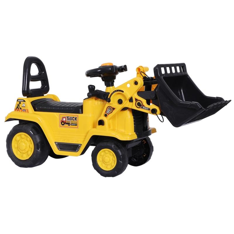 HOMCOM Ride-On Bulldozer Digger Tractor Pulling Cart Pretend Play Construction Truck