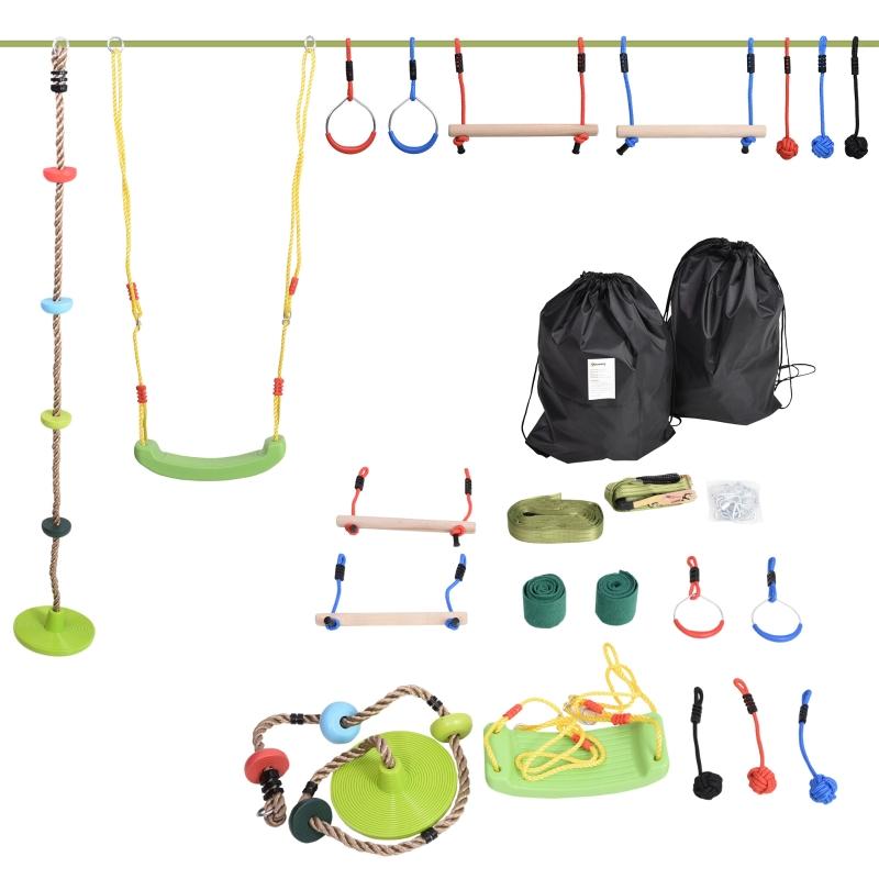 Outsunny Ninja Warrior Obstacle Course for Kids 46FT Slackline Kit w/ Training Equipment