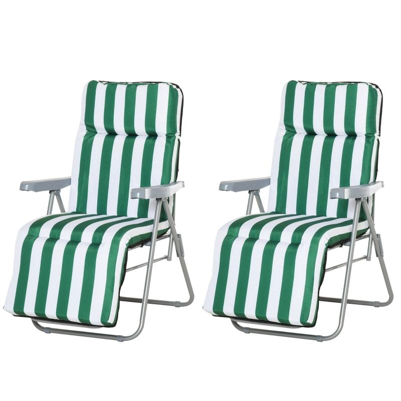 Outsunny 2 Pc Folding Sun Reclining Chairs W/ Cushions Set-Green/White