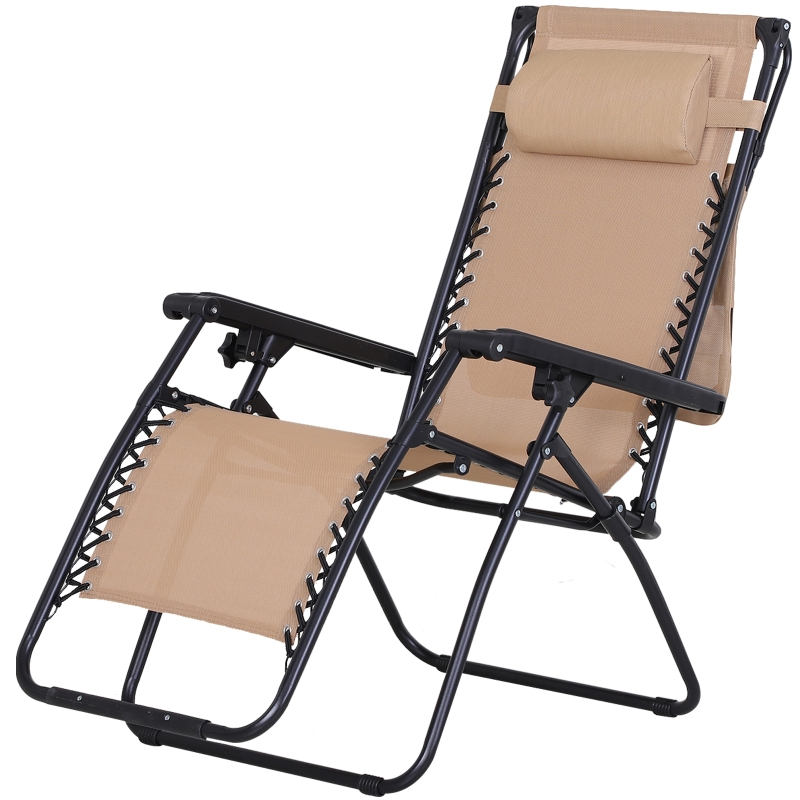 Outsunny Steel Frame Zero Gravity Outdoor Garden Deck Chair w/ Canopy Beige
