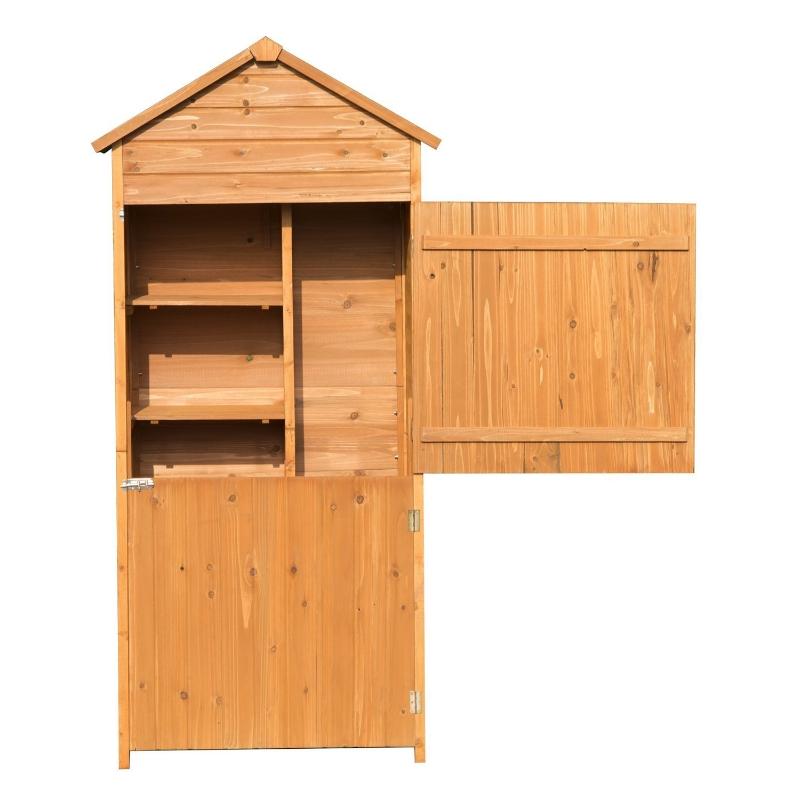 Outsunny 90 x 50cm 4-Tier Lockable Outdoor Garden Utility Cabinet Brown