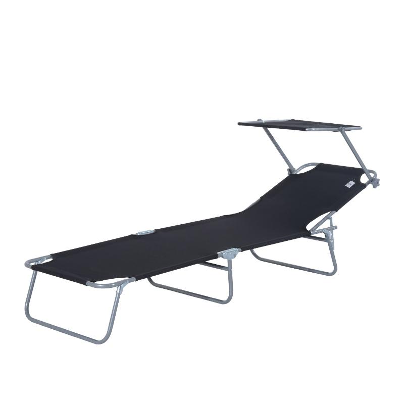 Outsunny Folding Sun Lounger-Black