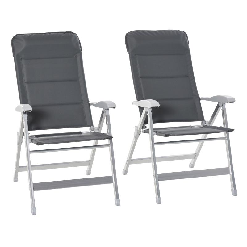 Outsunny 2 Pcs Folding Dining Chair w/ Adjustable Back Portable for Camping Patio Garden
