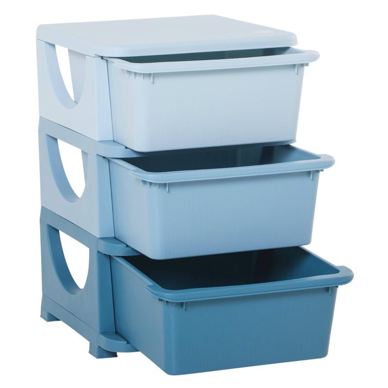 HOMCOM Kids Storage Units w/ Drawers 3 Tier Chest Vertical Dresser Tower Toy Organizer