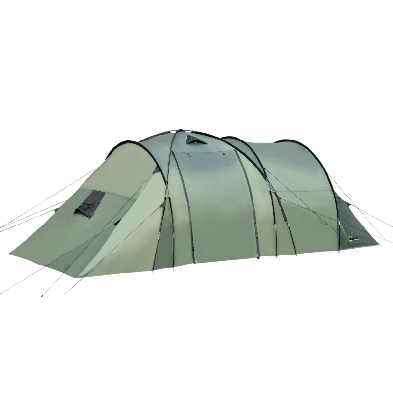 Outsunny 5 Man Camping Tent Family Friends Outdoor Shelter w/ Rainfly 3 Rooms Carry Bag