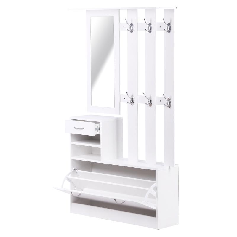 3-in-1 garderobeset garderobepaneel schoenenkast met spiegel 2-delig wit