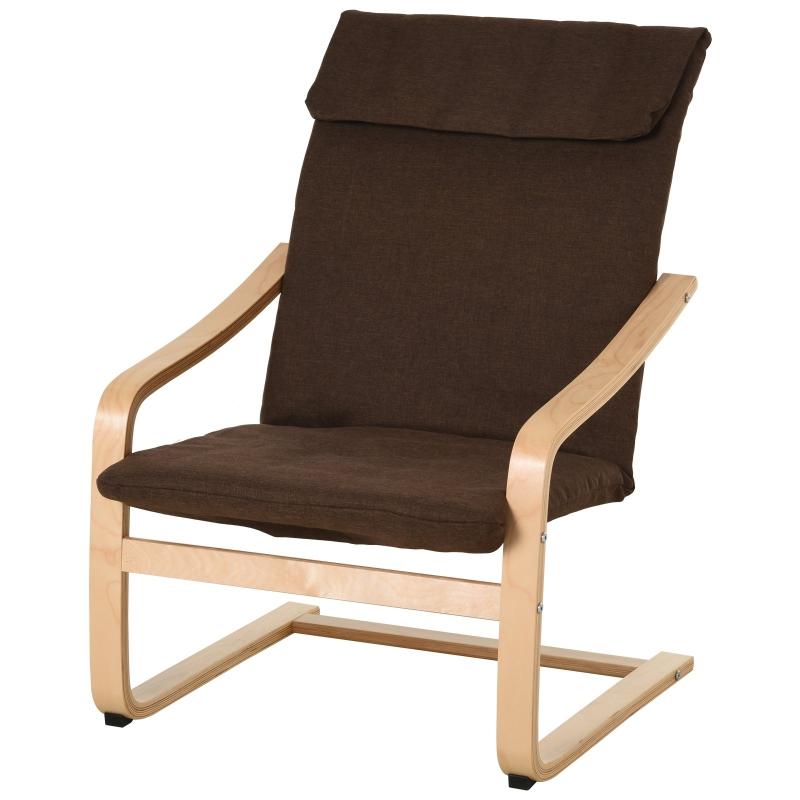 HOMCOM relaxstoel fauteuil met armleuningen linnen bekleding houten frame bruin