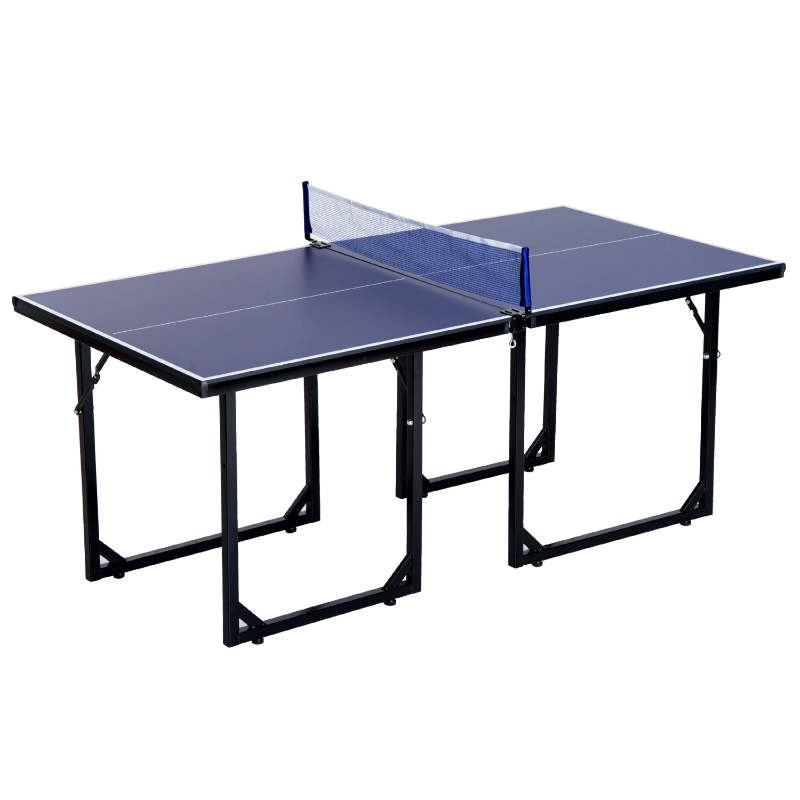 HOMCOM Storage Mini Table Tennis with Net Steel Blue 183cm Indoor
