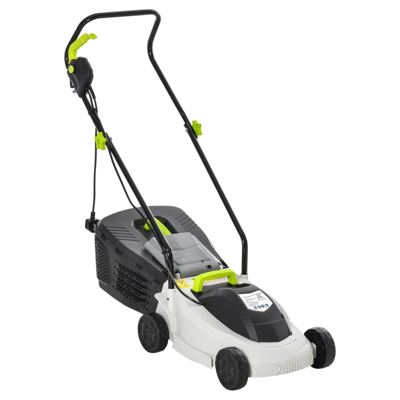 Outsunny Electric Rotary Lawnmower w/ 32cm Cutting Width, 25L Grass Box, Height Adjust