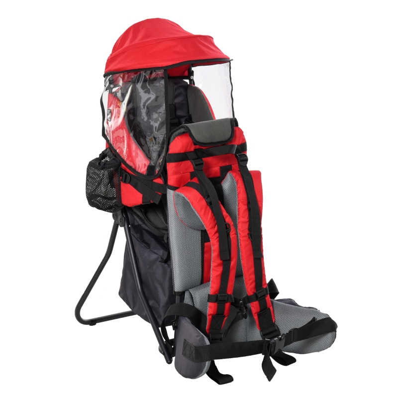 HOMCOM Baby Backpack Carrier for Hiking with Ergonomic Hip Seat Detachable Rain Cover
