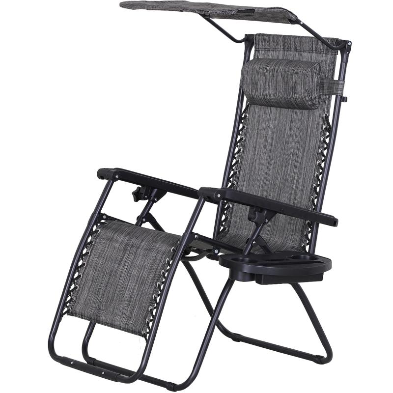 Outsunny Steel Frame Zero Gravity Outdoor Garden Deck Chair w/ Canopy Grey