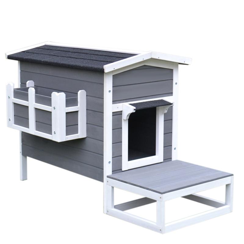 Kattenhuis, kattenhut, kattengrot, huis voor kleine dieren met terras katten honden