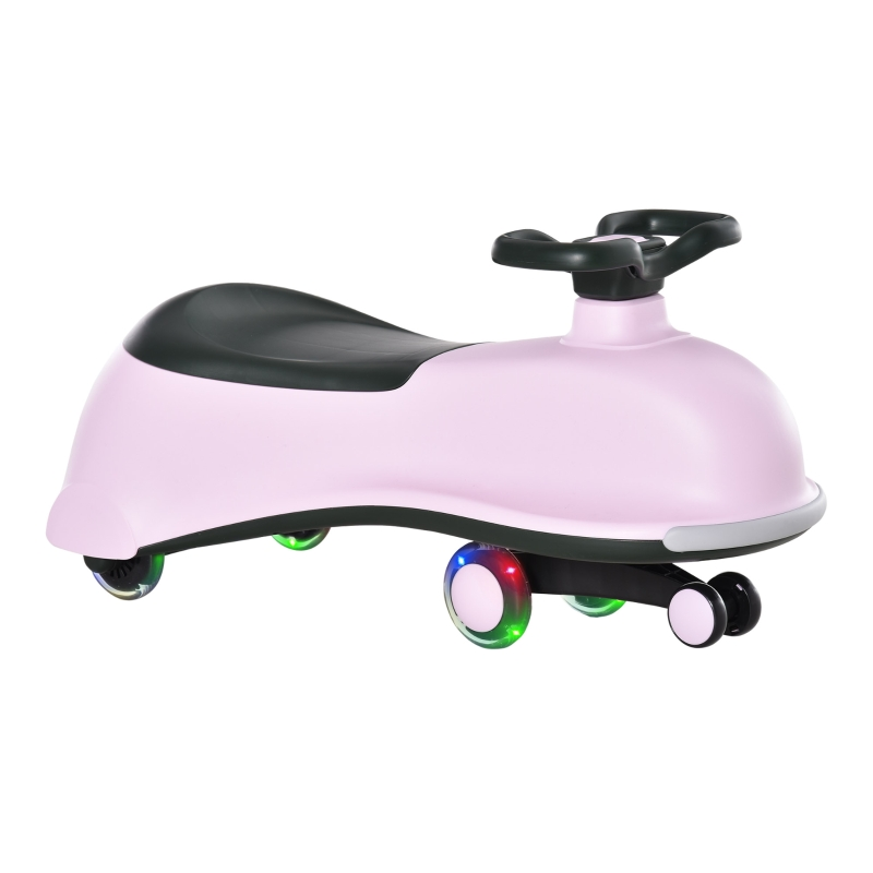 HOMCOM Ride on Wiggle Car w/LED Flashing Wheels for 18 - 72 months Pink+Black