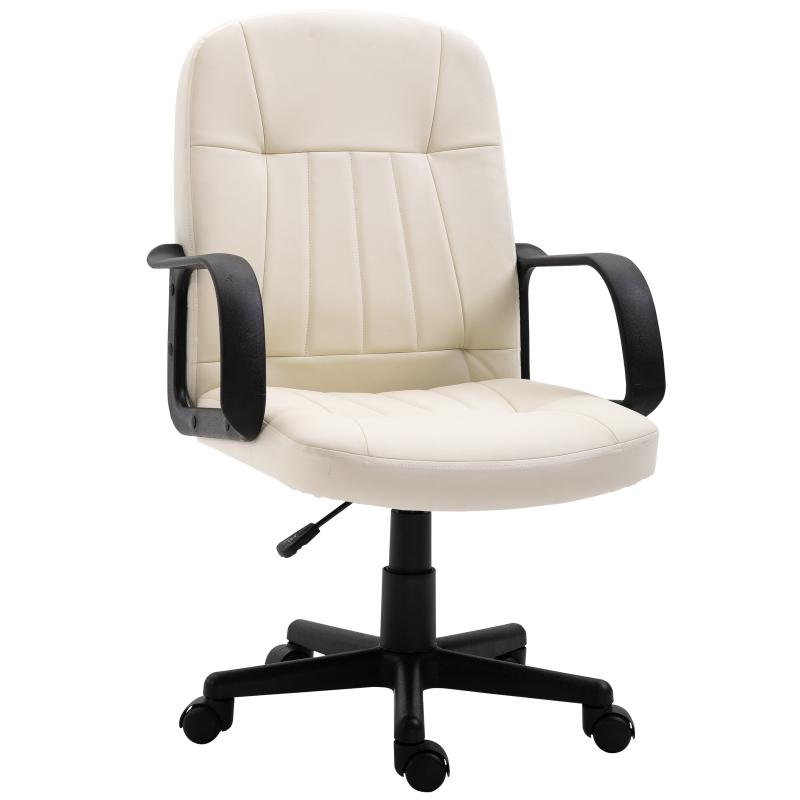 HOMCOM PU Leather Swivel Home Office Chair Cream