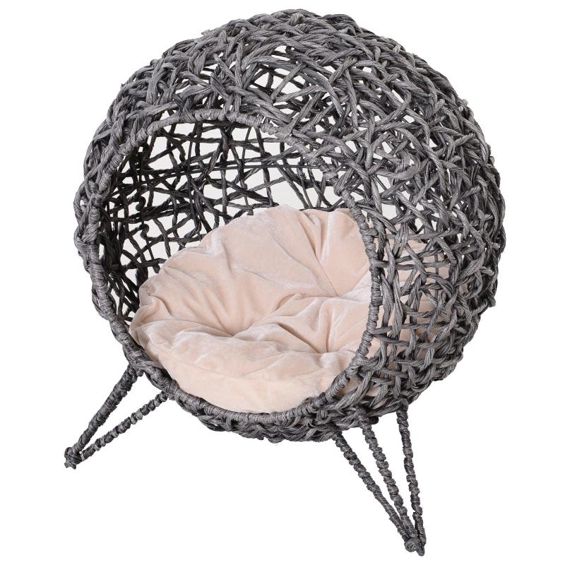 Domek dla kota z poduszką Miejsce do spania dla kota Jaskinia dla kota podwyższone nogi rattan PVC