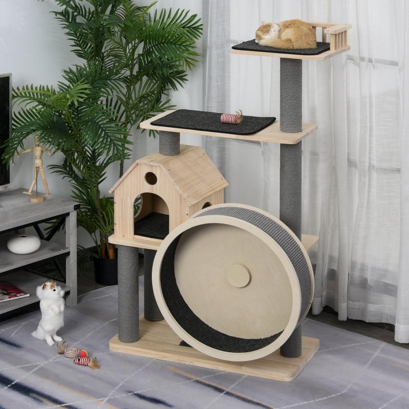 Drapak dla kota z kołowrotkiem 4-poziomowe drzewo dla kota domek dla kota z sizalowymi słupkami lite drewno