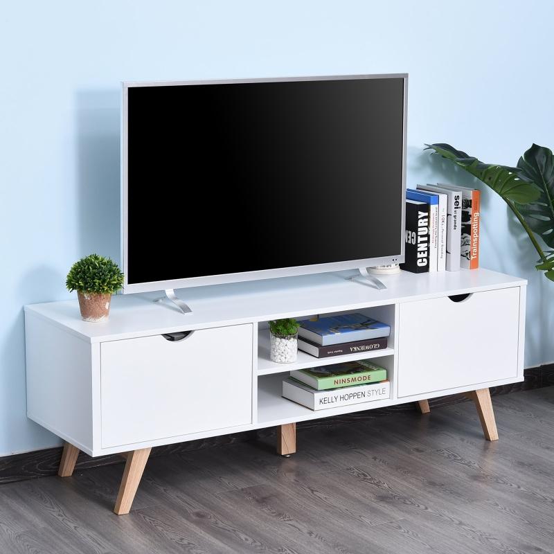 HOMCOM Szafka RTV, Komoda pod telewizor, Szafka z szufladami i otwartymi półkami, MDF, biały, 150 x 39 x 50 cm