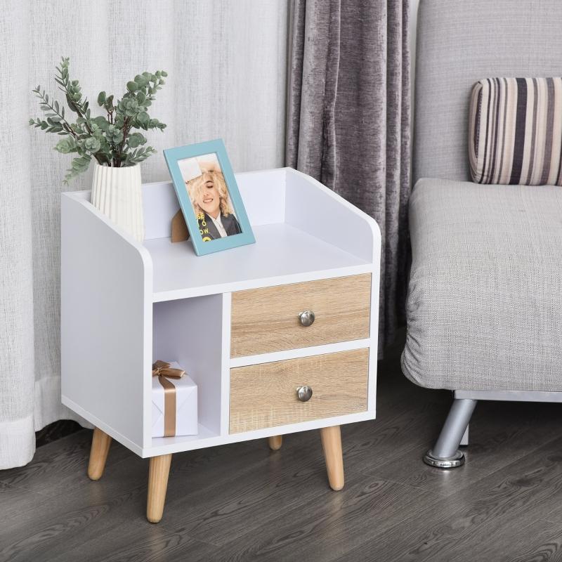 Stolik nocny z 2 szufladami podwyższona szafka nocna do sypialni nogi z litego drewna