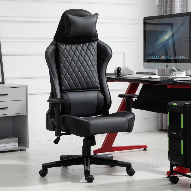 Ergonomiczne krzesło do gier, krzesło biurowe z funkcją przechylania, z regulacją wysokości, czarne