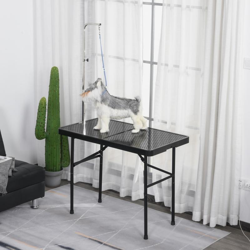 Stół trymerski, stół do pielęgnacji zwierząt, stół do strzyżenia, stół groomerski dla psów, składany, czarny