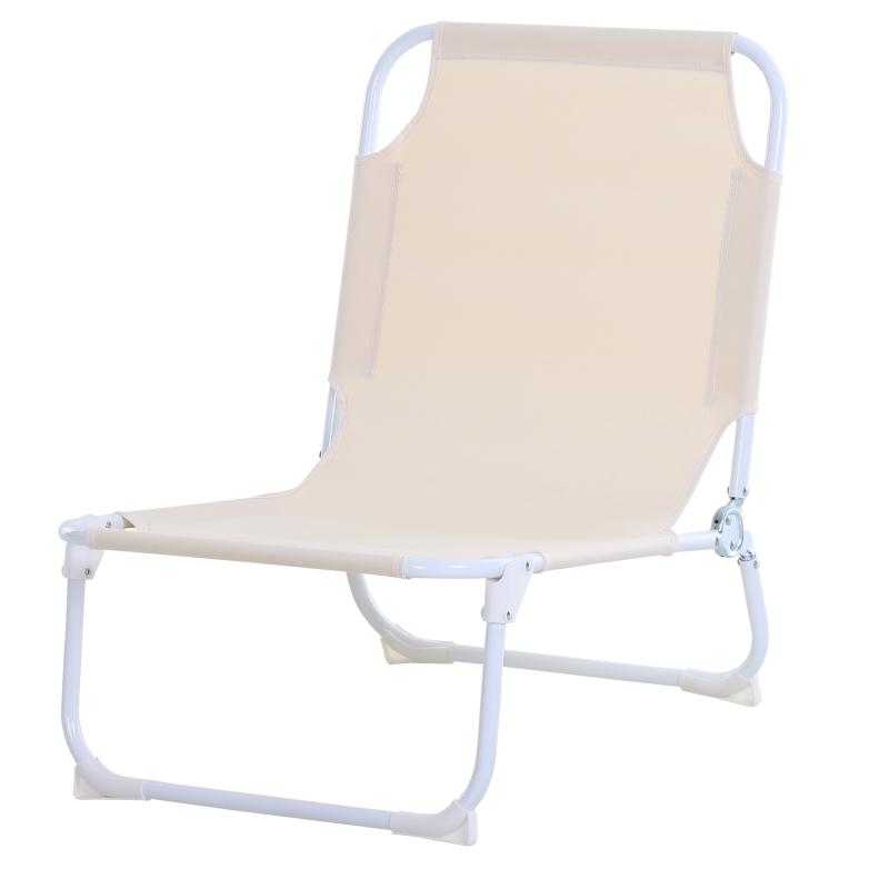 Krzesło kempingowe składane plażowe do ogrodu na balkon Oxford kremowy Outsunny