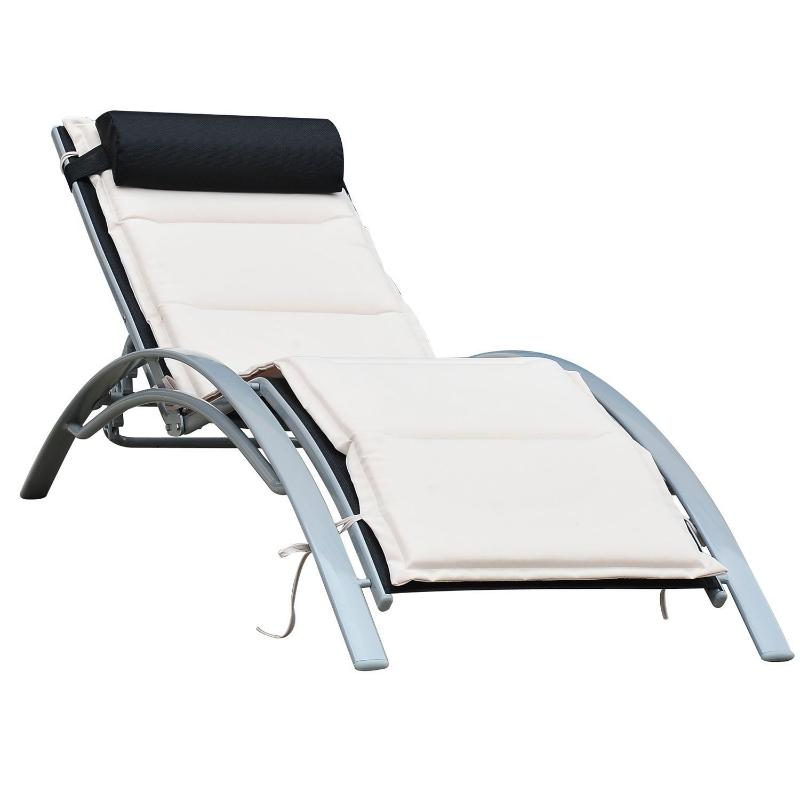 Leżak ogrodowy fotel regulowany Outsunny