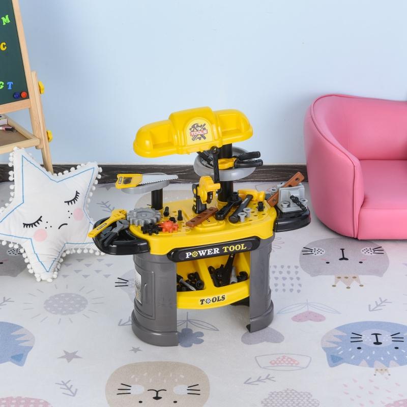 Stół warsztatowy dla dzieci stół warsztatowy do zabawy z 64 akcesoriami kolor żółty