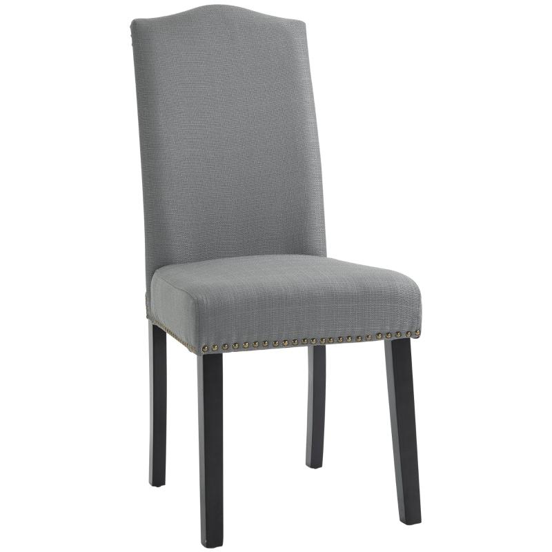 Zestaw 2 krzeseł do jadalni krzesło kuchenne krzesło do salonu z oparciem szare